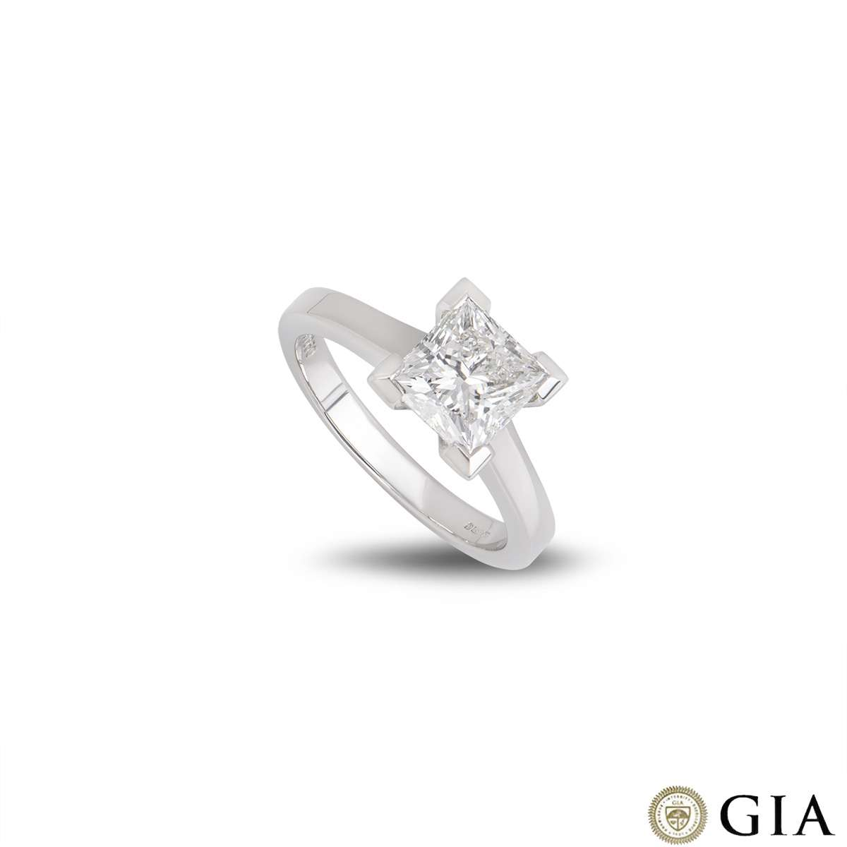 18k White Gold Diamond Princess Cut Diamond Ring 2.01ct G/VS1